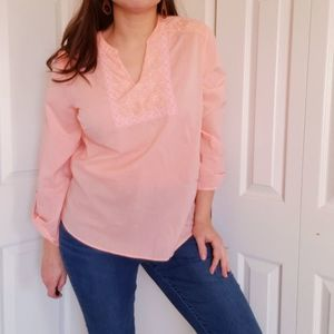 New Charter Club Size PM Pink Cotton Tunic Top